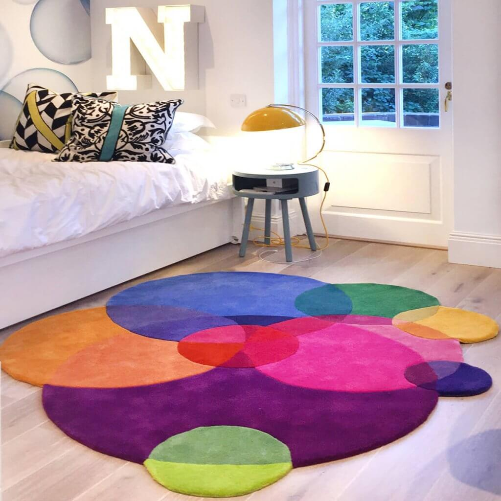 Colourful Bedroom Rugs - Bubbles