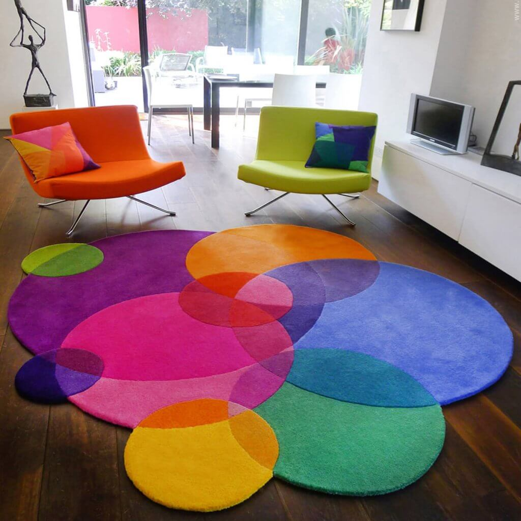 Colourful modern Designer Rugs - Bubbles