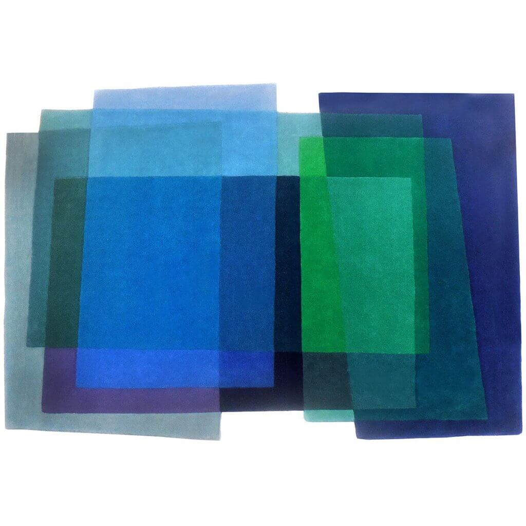 Geometric Blue Rugs - After Albers