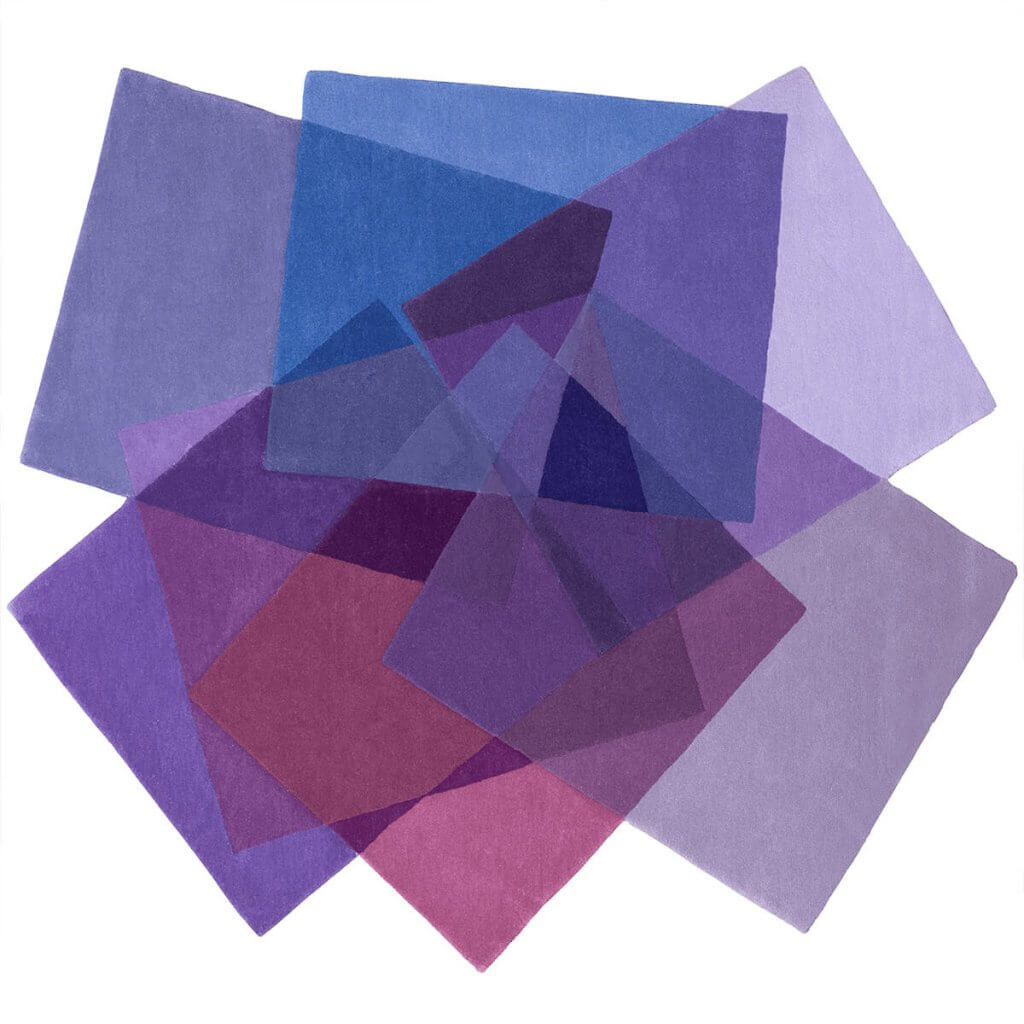 Modern Designer Purple Irregular Rug - After Matisse