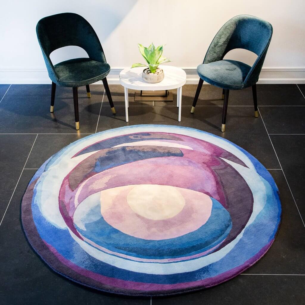 Modern Round Purple Area Rug