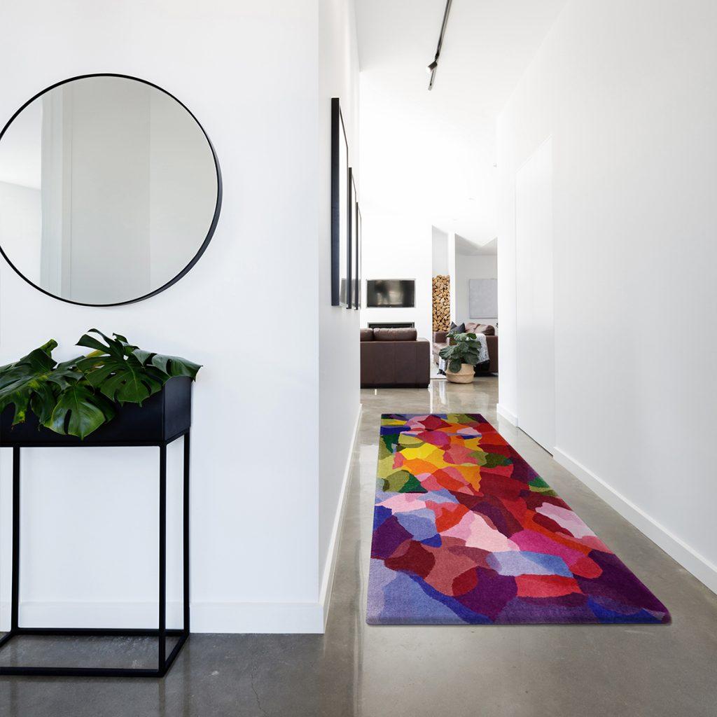 Designer runner rug for hallway
